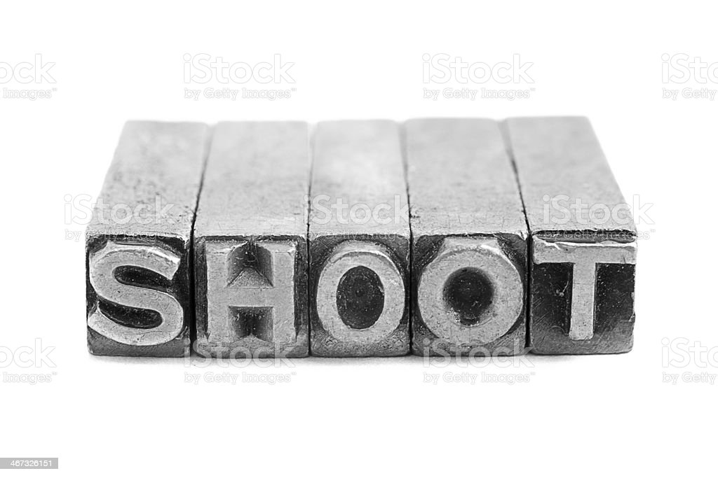 SHOOT sign, antique metal letter type royalty-free stock photo