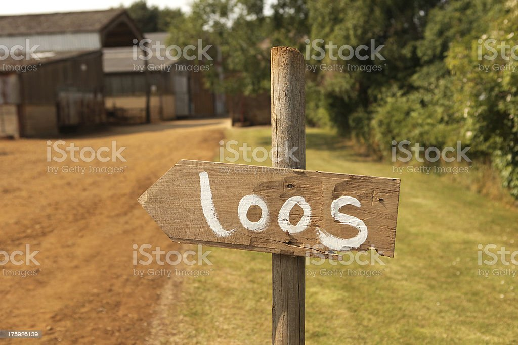 Sign at a wedding for the loos. royalty-free stock photo