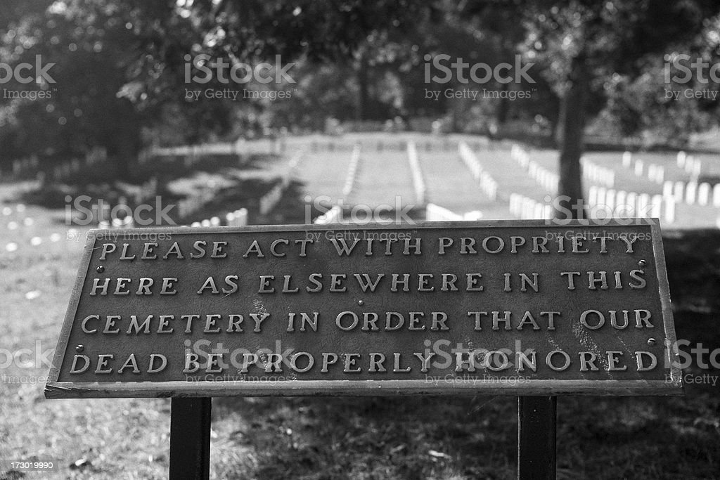 Sign at Arlington Cemetery royalty-free stock photo