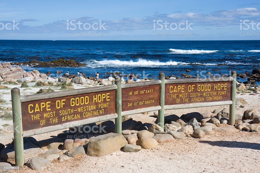 Sign at Cape of Good Hope national park in South Africa stock photo