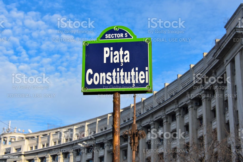Sign at Constitution Square (Piata Constitutiei) stock photo