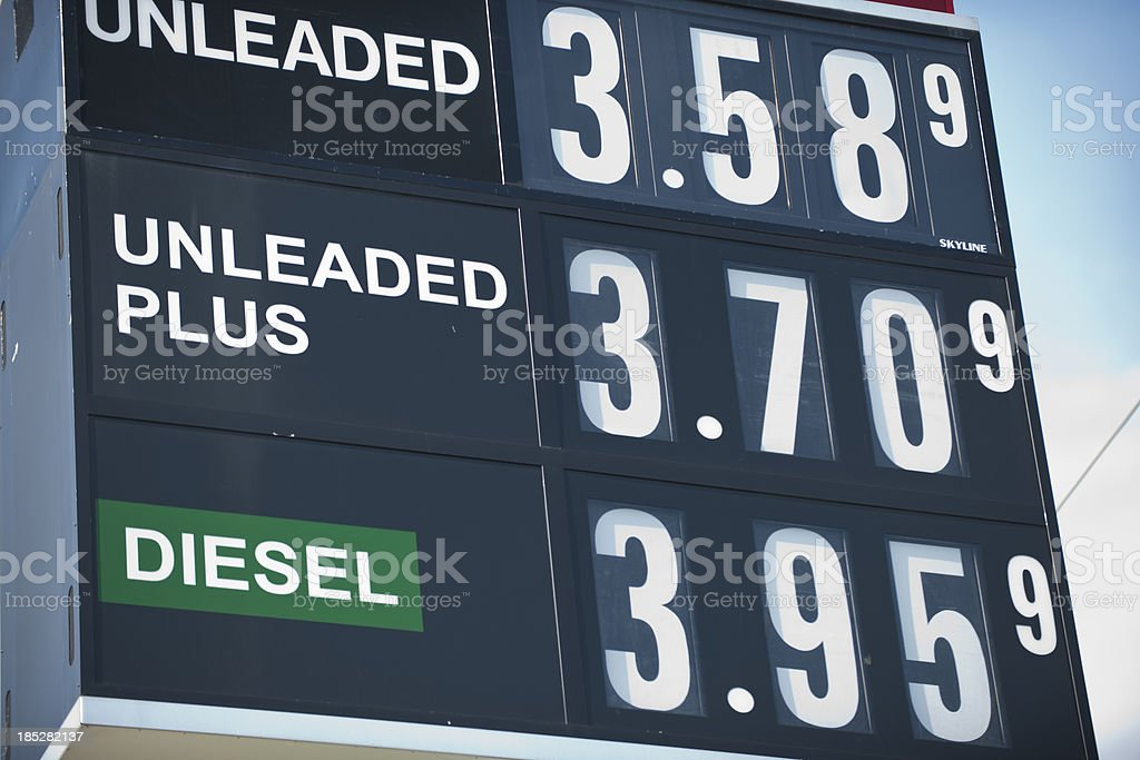 Sign at Gas Station for Gasoline and Diesel Fuel Prices stock photo