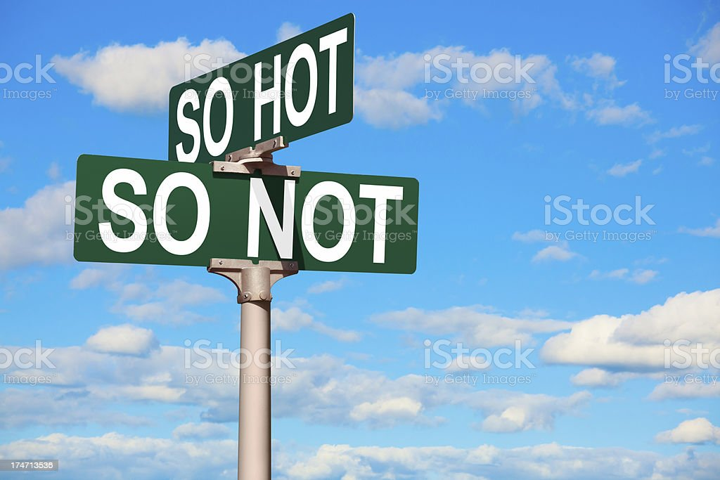 Sign at Intersection of So-Hot and So-Not royalty-free stock photo