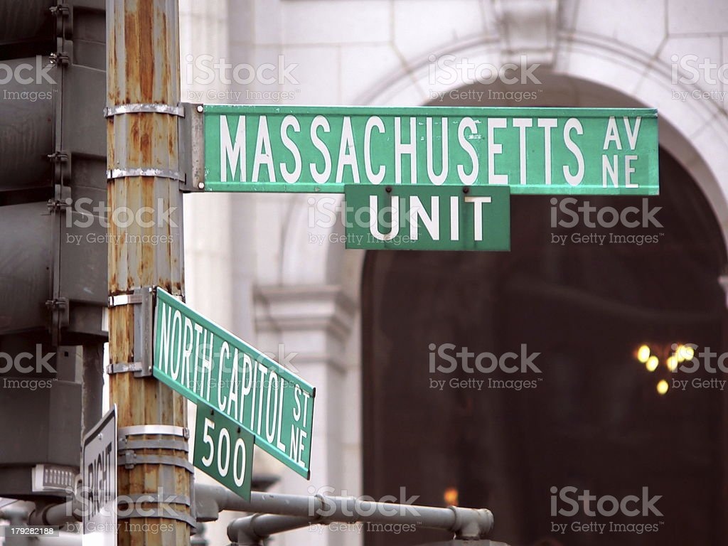 Sign at Massachusetts Avenue and North Capitol in Washington DC stock photo