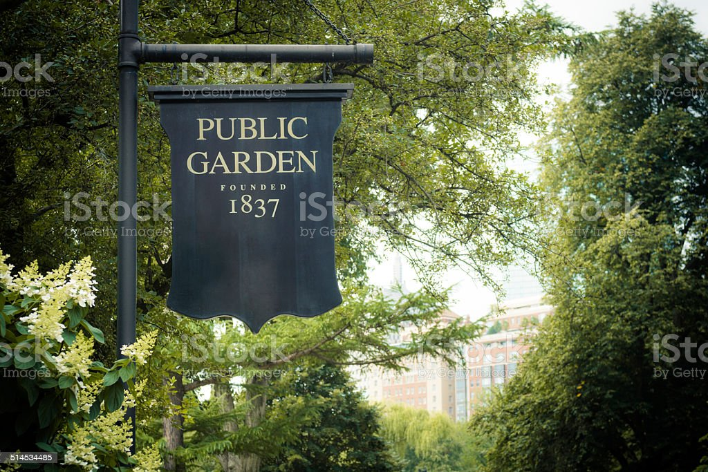 Sign at Public Garden in Boston, MA stock photo