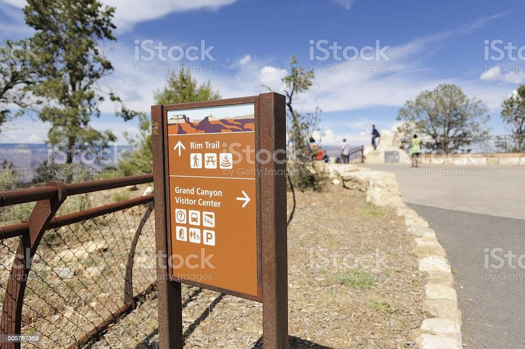 Sign at rim of Grand Canyon stock photo