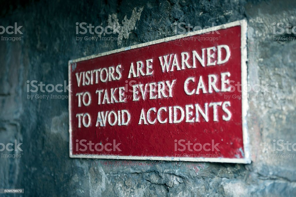 Sign at south accesss to medieval town wall stock photo