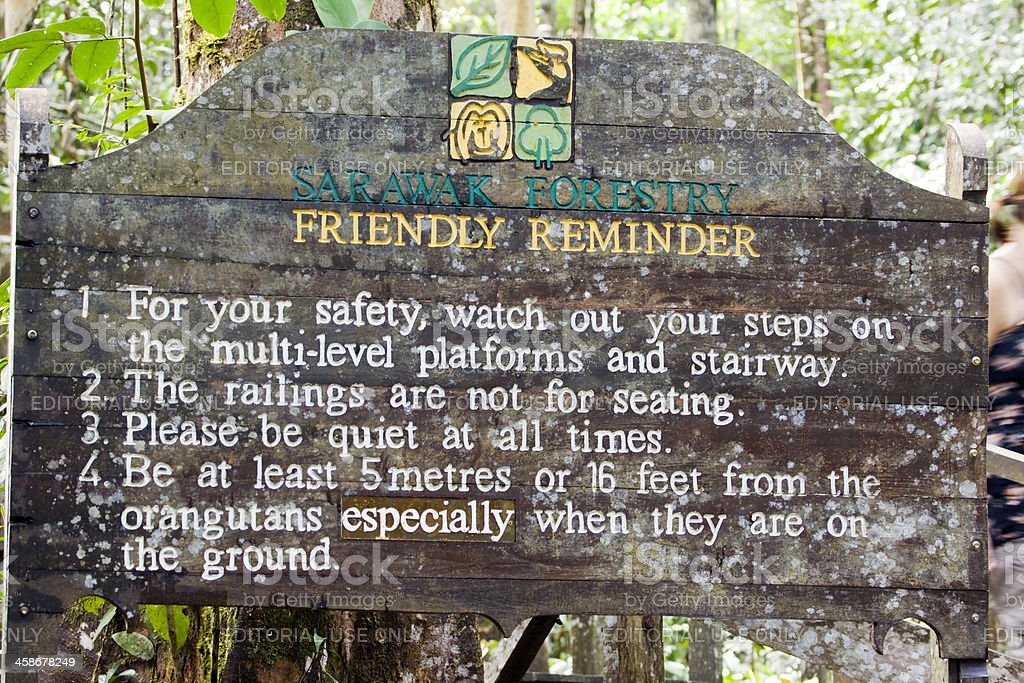 Sign at the entrance of Semonggoh Wildlife Rehabilitat stock photo