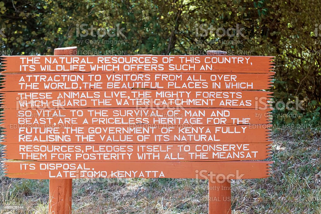 Sign at the entrance to National Park in Marsabit Kenya. stock photo