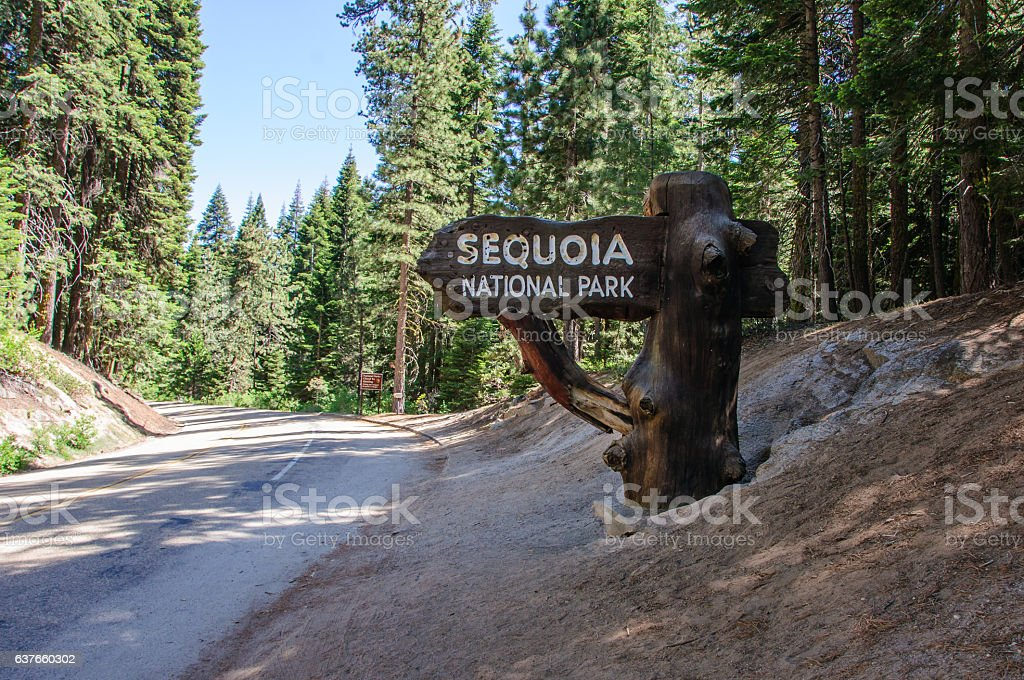 Sign at the entrance to Sequoia National Park, California, USA stock photo