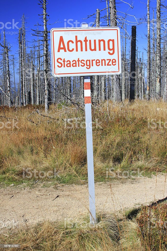 Sign 'Attention state border' stock photo