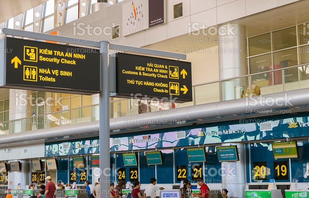 Sign board guidance at  Da Nang International Airport stock photo