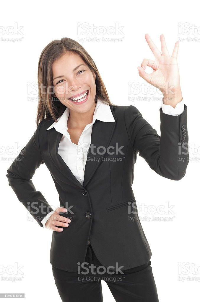 OK sign businesswoman royalty-free stock photo