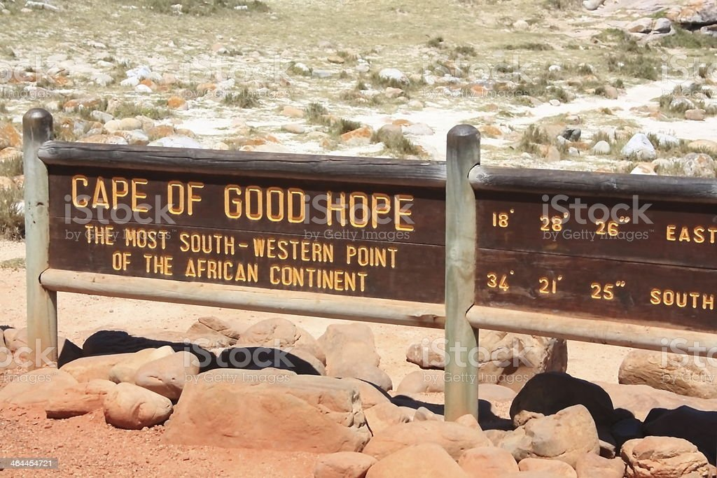 sign cape of good hope in South Africa stock photo