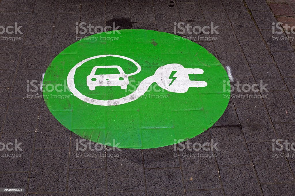 Sign charging station for electric car stock photo
