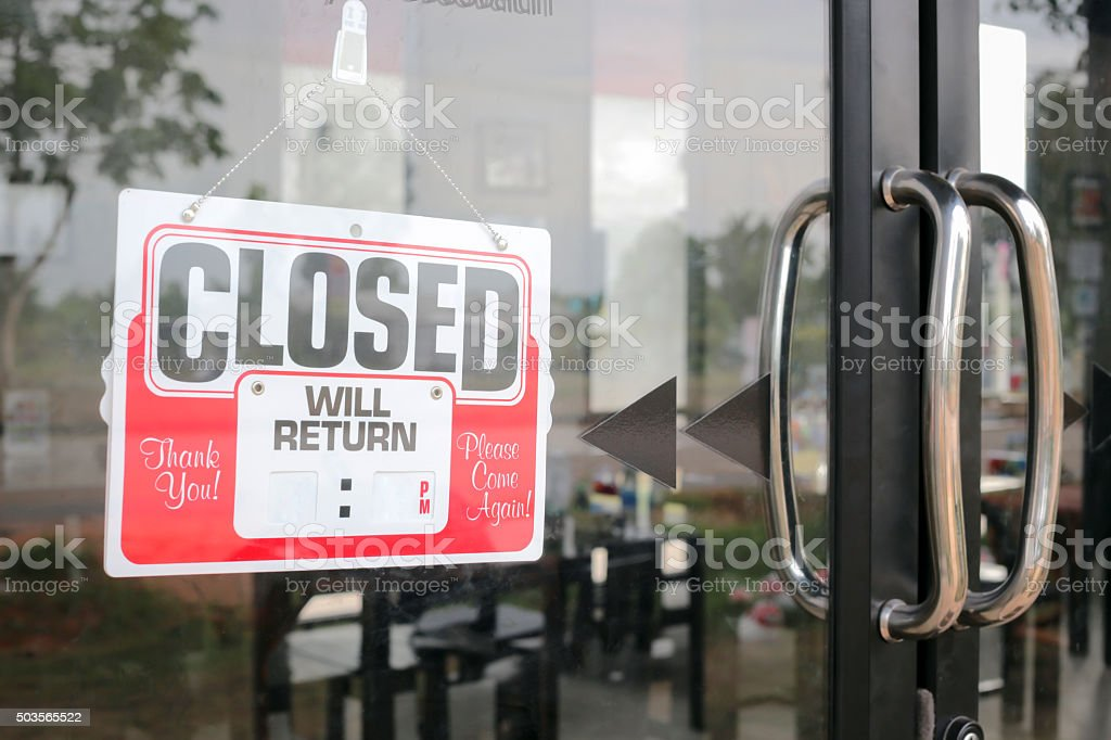 Sign closed in restaurant  blank for fill time. stock photo
