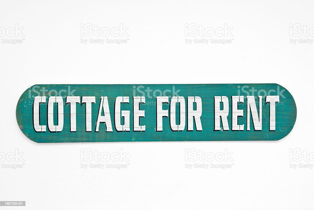 Sign - Cottage For Rent royalty-free stock photo