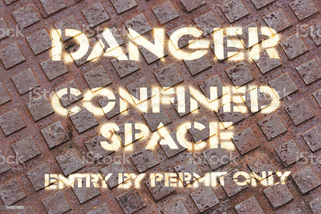 Sign - Danger Confinded Space Entry by Permit Only stock photo