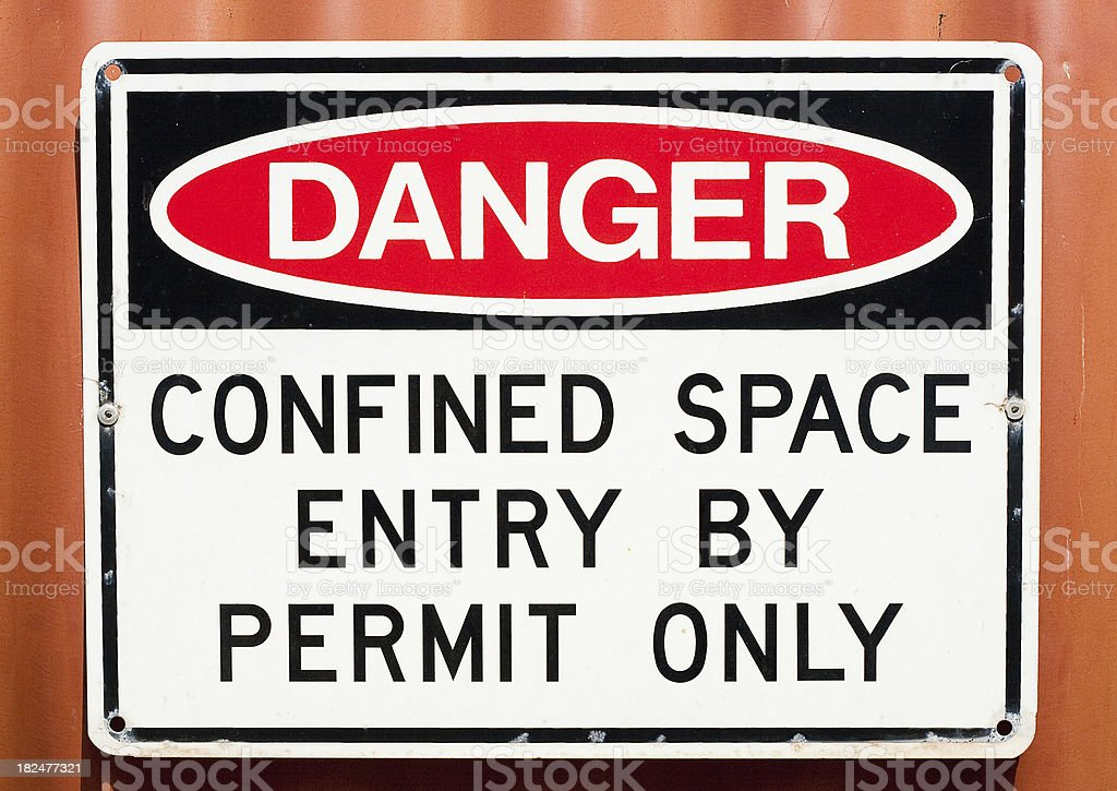 Sign - Danger Confined Space stock photo