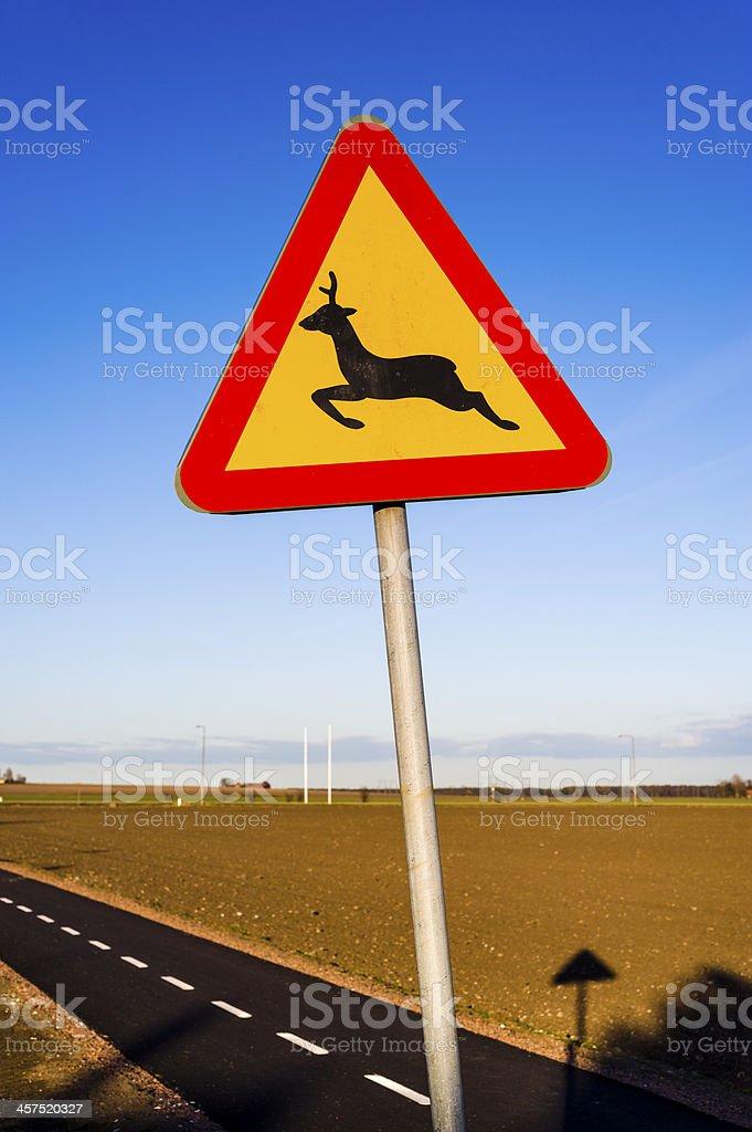 Sign: Deer Crossing (Sweden) royalty-free stock photo