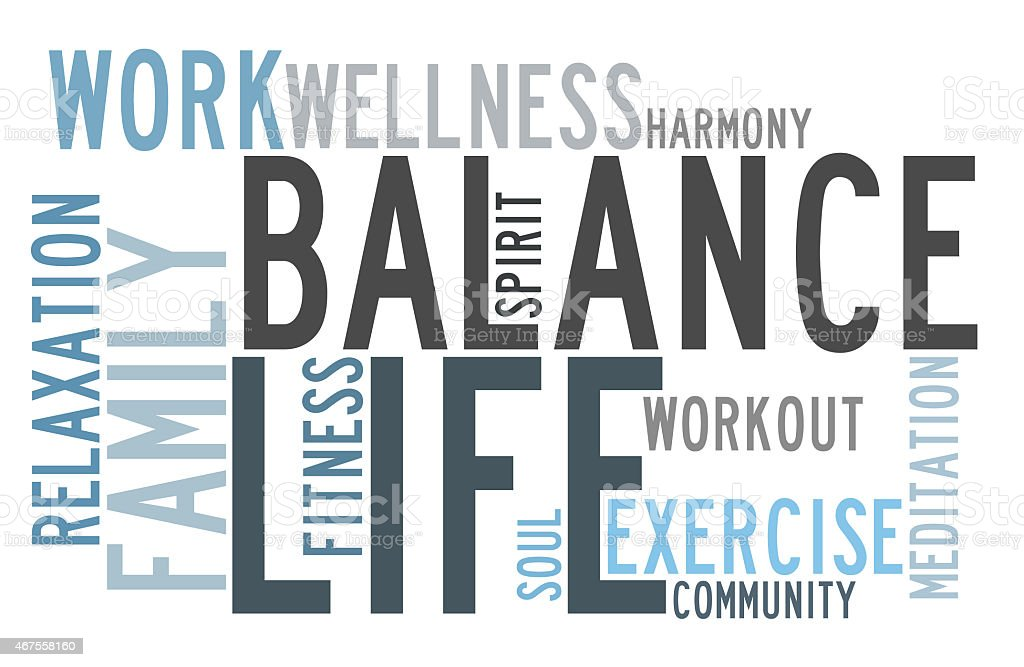 Sign depicting how to balance life and work stock photo