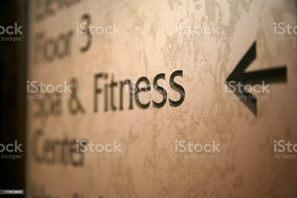 Sign directing to Spa and Fitness Center royalty-free stock photo
