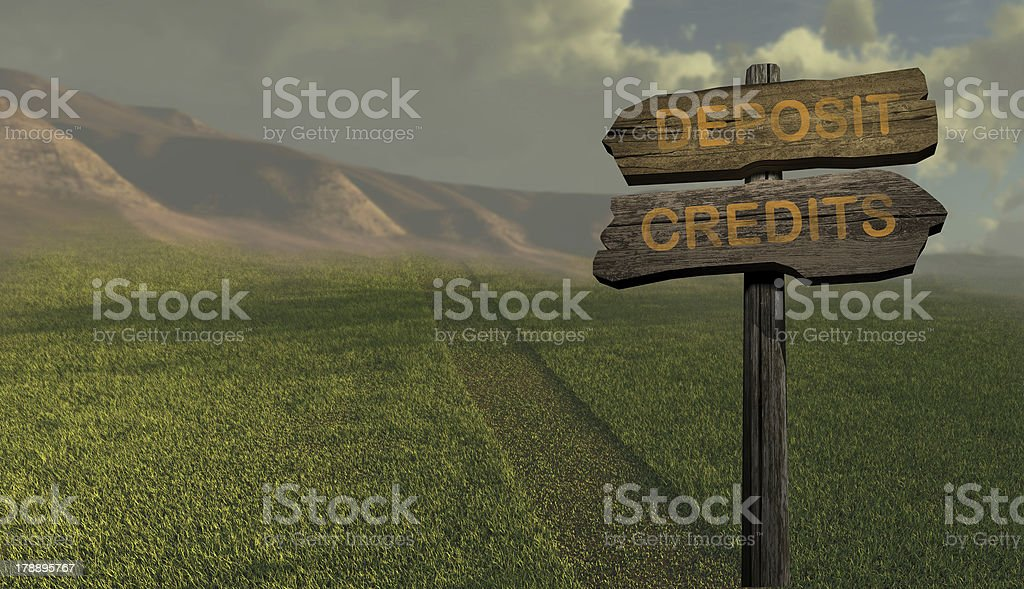 sign direction deposit - credits royalty-free stock photo