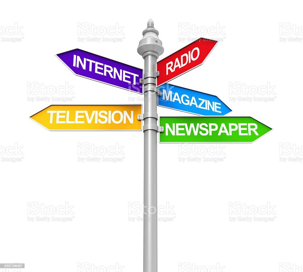 Sign Directions of Media Information stock photo