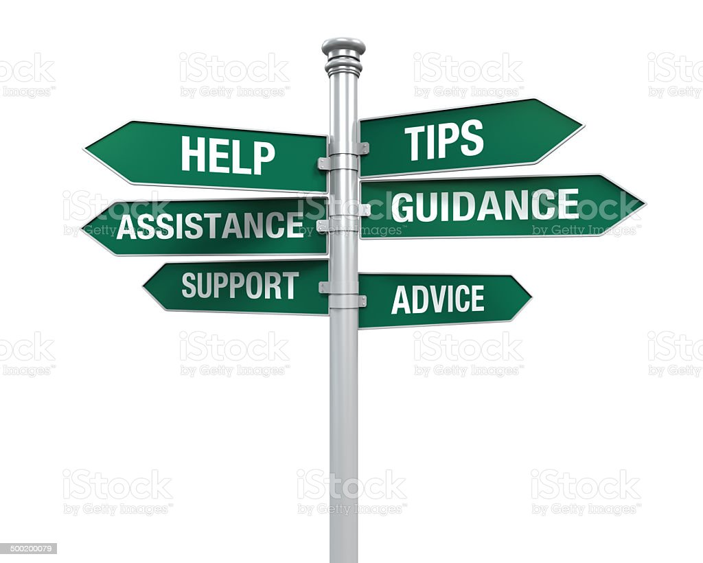 Sign Directions Support Help Tips Advice Guidance Assistance royalty-free stock photo