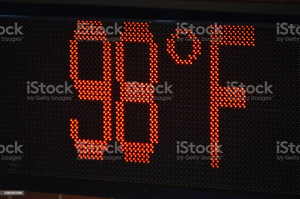 Sign Displaying Temperature stock photo