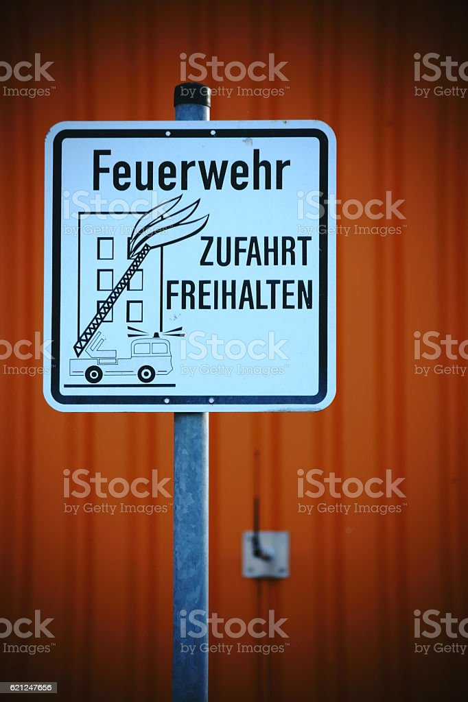 Sign fire service entrance stock photo
