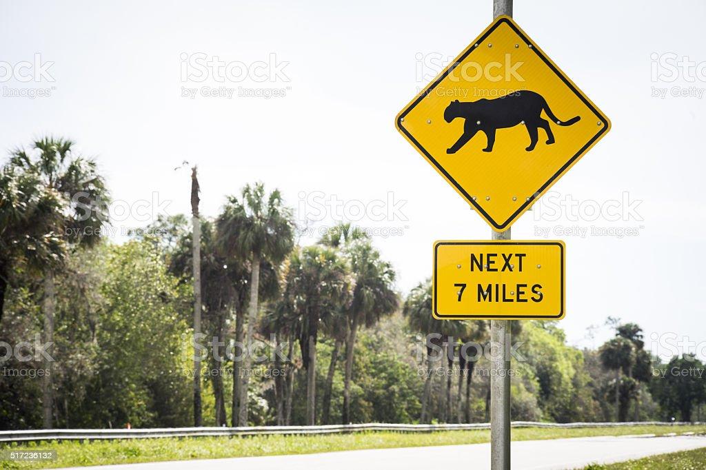 Sign Florida Panther near Immokalee, Florida. stock photo