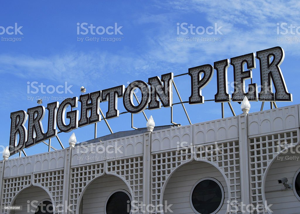 Sign for Brighton Pier. East Sussex. England stock photo