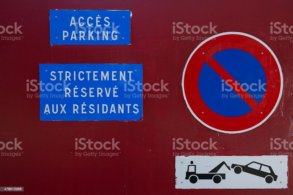 Sign for car stock photo