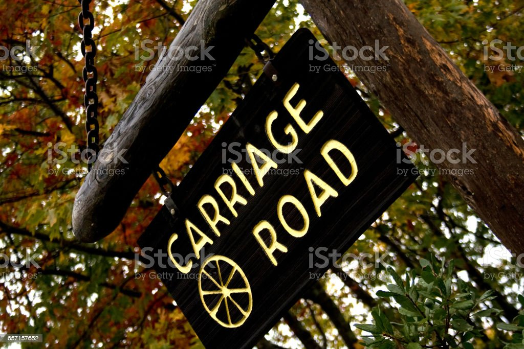 Sign for Carriage Road Path in Acadia National Park stock photo