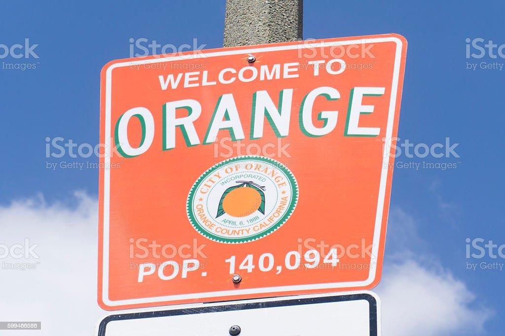 Sign for City of Orange in California stock photo