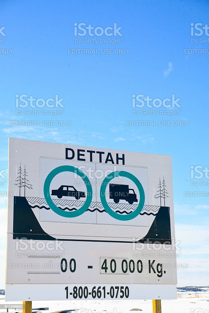 Sign for Dettah Ice Road stock photo