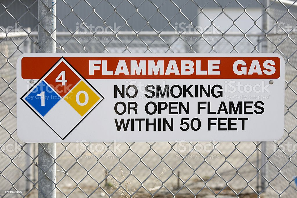 Sign for flammable gas and no smoking stock photo