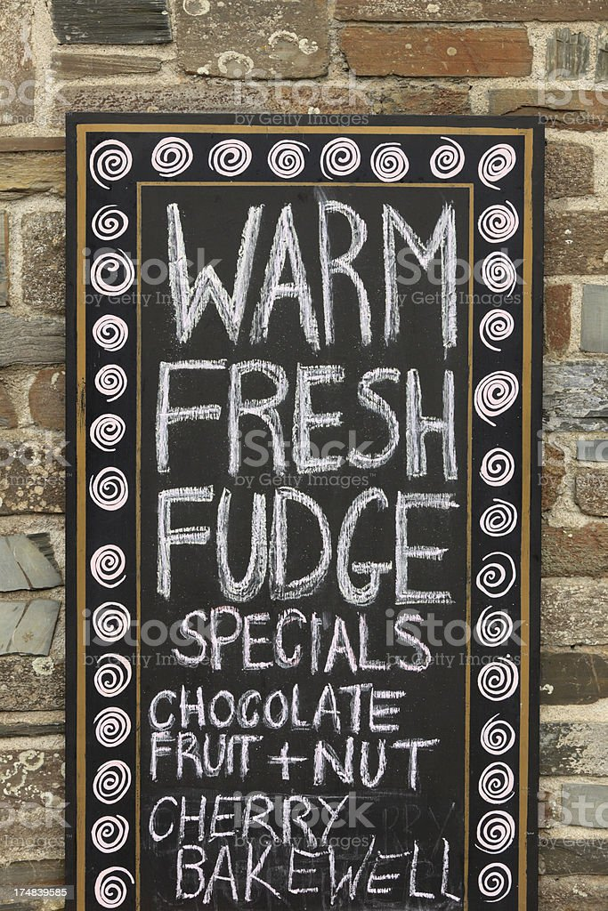sign for fudge at a bakery in Cornwall royalty-free stock photo