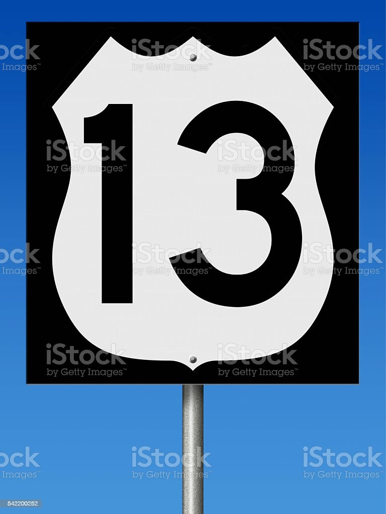 Sign for Highway 13 stock photo