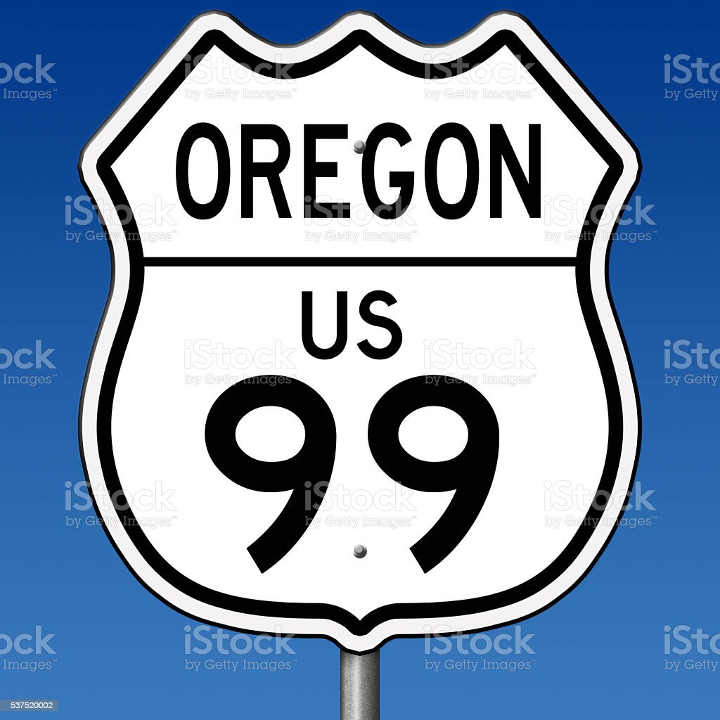 Sign for Highway 99 in Oregon stock photo