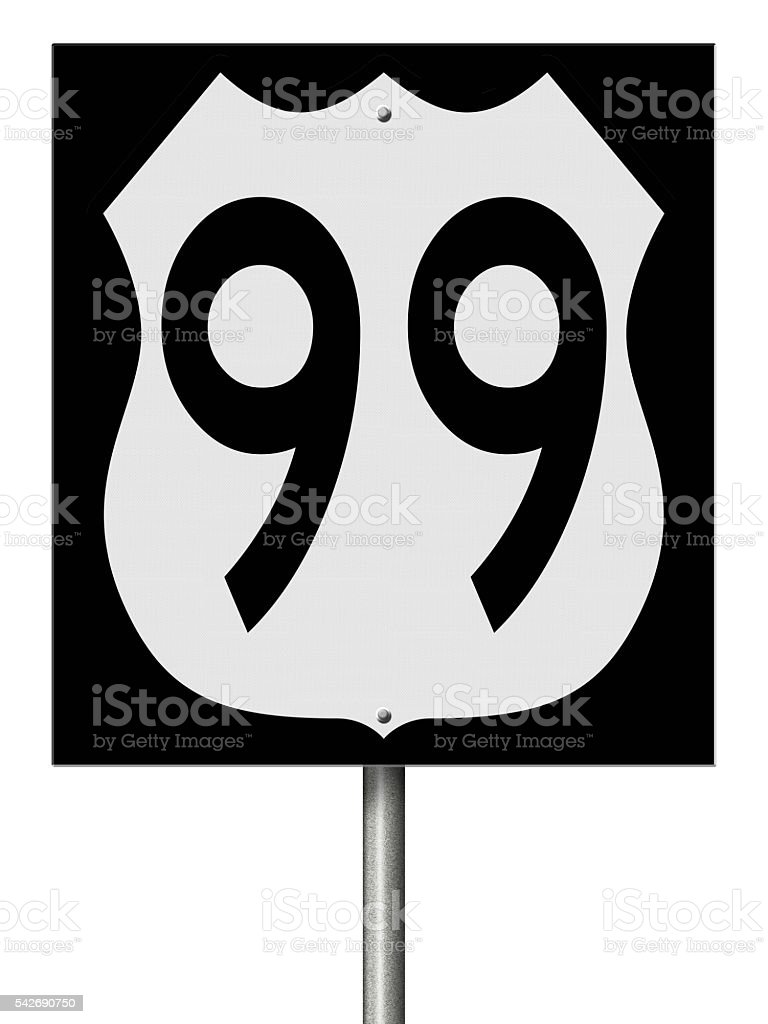 Sign for Highway 99 stock photo