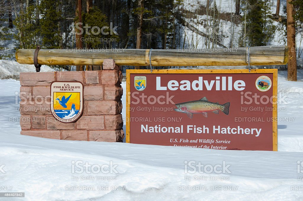 Sign for Leadville National Fish Hatchery in Winter stock photo