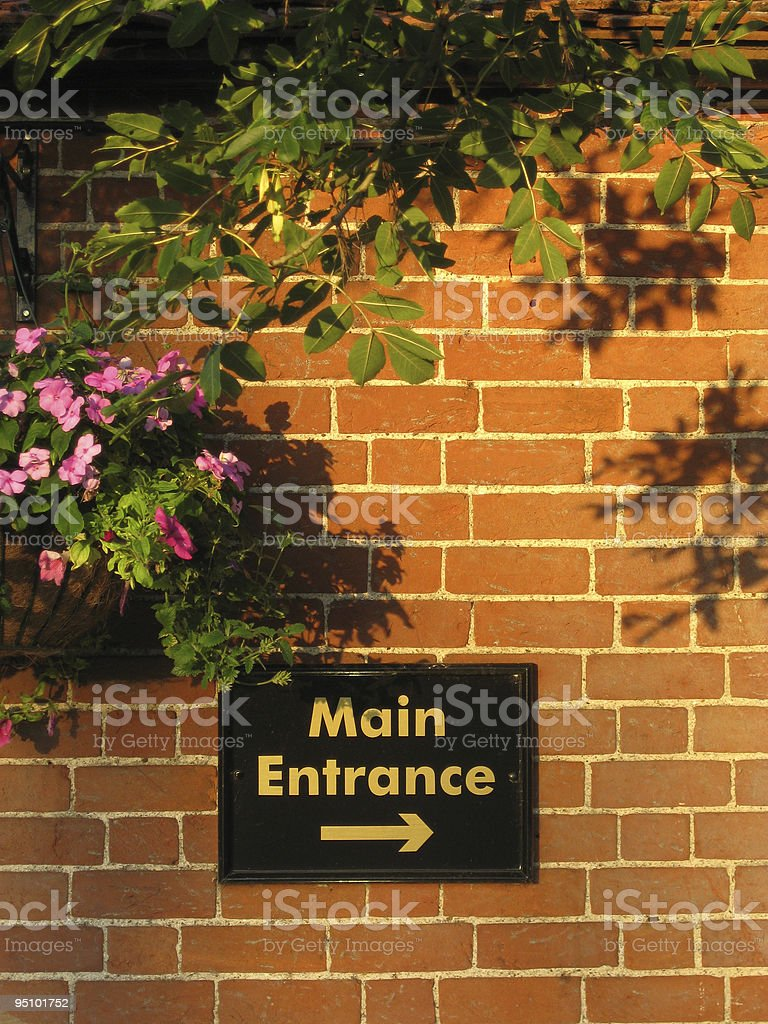 Sign for Main Entrance stock photo