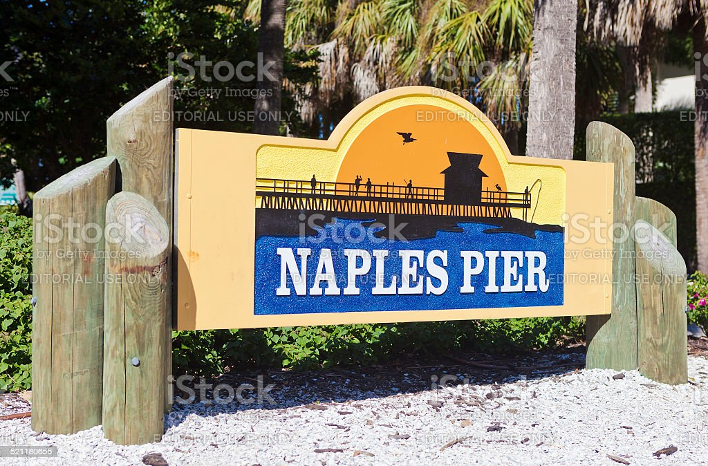 Sign For Naples Pier stock photo