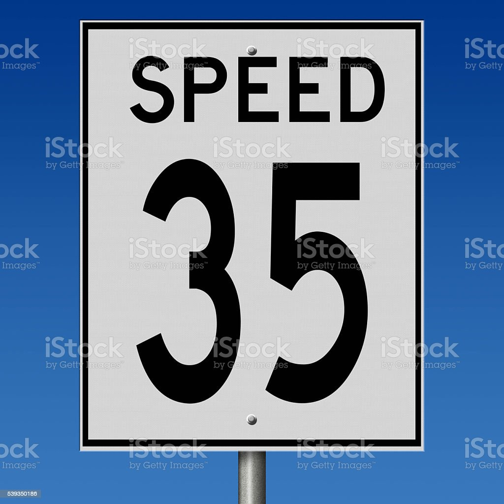 Sign for speed limit of 35 stock photo