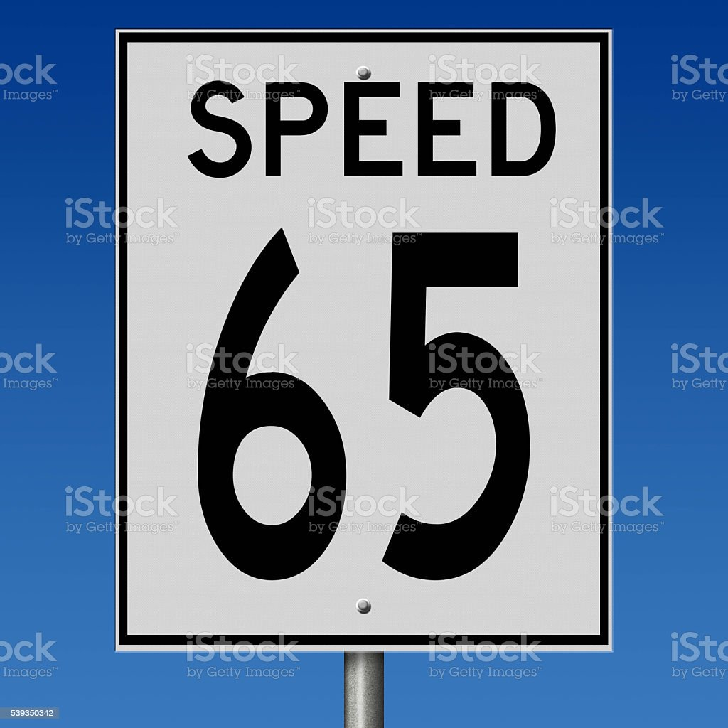 Sign for speed limit of 65 stock photo