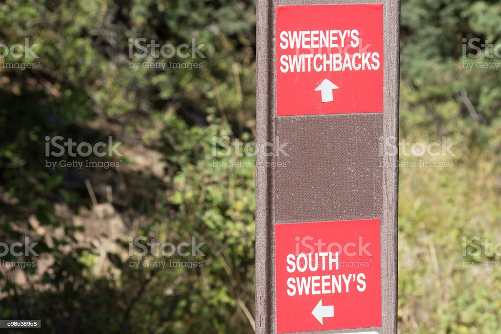 Sign for Sweeney's trails at Park City in the summertime stock photo