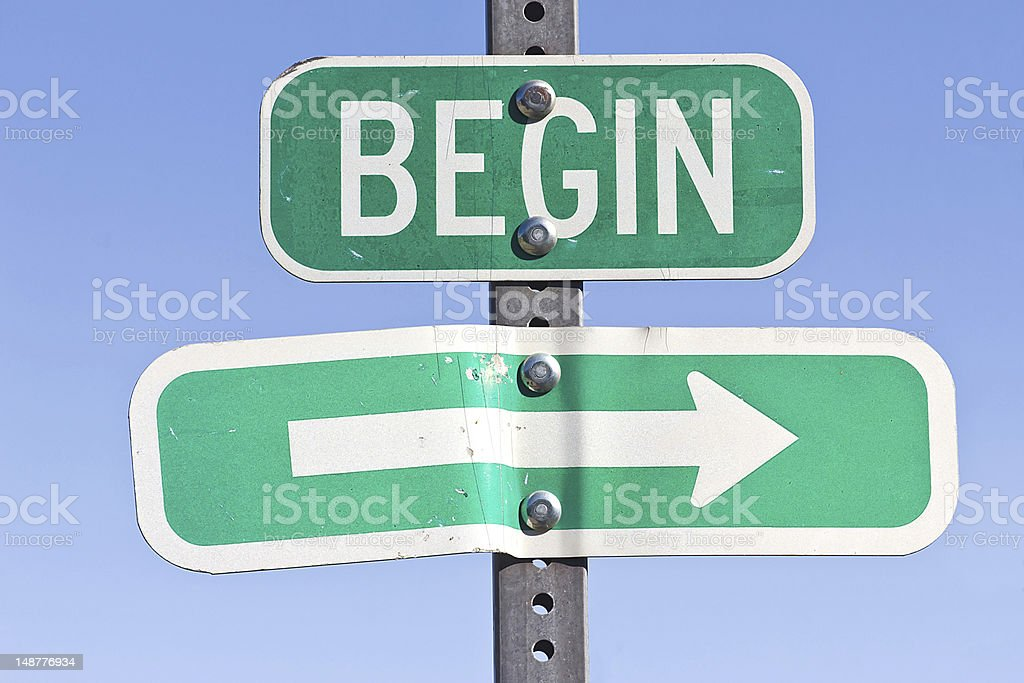 Sign for the Beginning stock photo