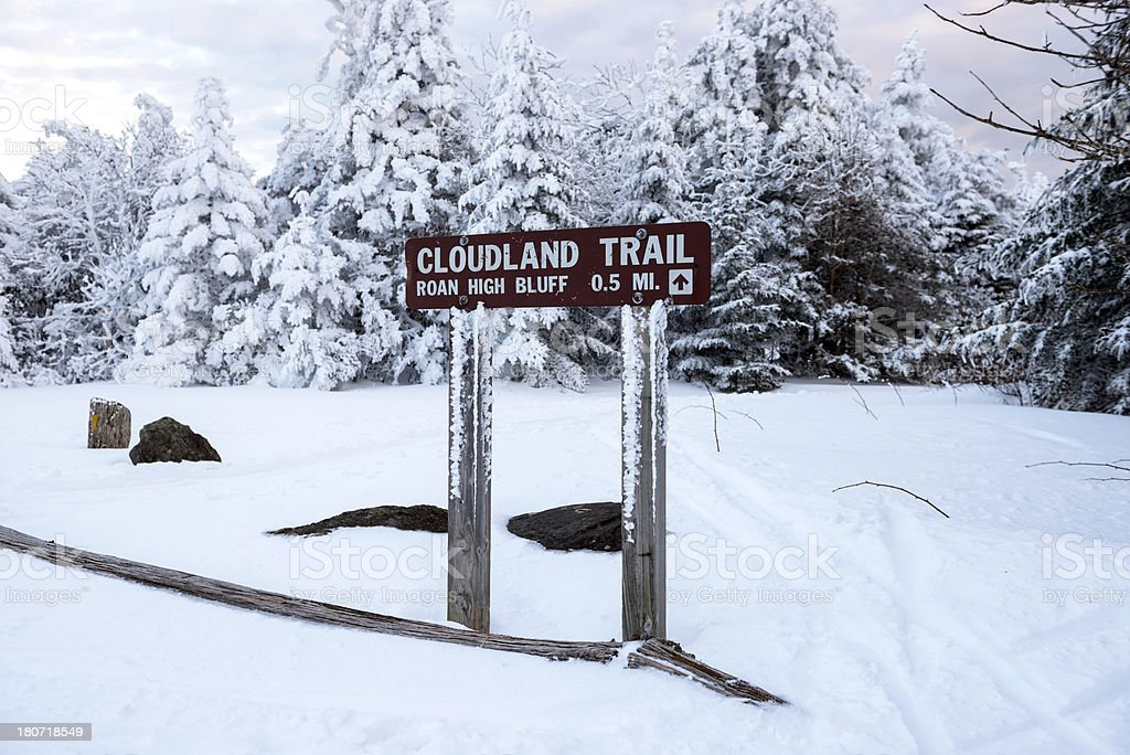 Cloudland Trail to Roan High Bluff in snowy landscape royalty-free stock photo